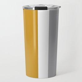 Quatro Stripe Minimalist Broad Stripe Color Block Pattern in Mustard Yellow, Navy Blue, Gray, White Travel Mug