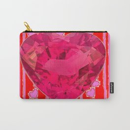 PINK JEWELED RED VALENTINE HEARTS  DESIGN Carry-All Pouch