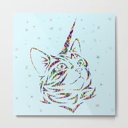 Behold the Wondrous Unicat! Metal Print