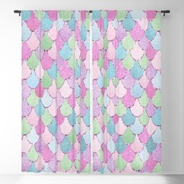 Mermaid,Cute and Colorful Scales Pattern Blackout Curtain