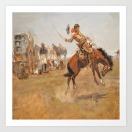 C.M. Russell Vintage Western Rider Of The Rough String Art Print