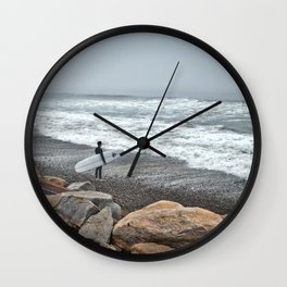 Surfer, High Tide. Torrey Pines State Beach, California. Wall Clock