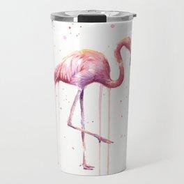 Pink Flamingo Portrait Watercolor Animals Birds | Facing Right Travel Mug
