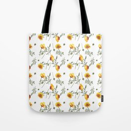 Yellow Poppy Pattern Tote Bag