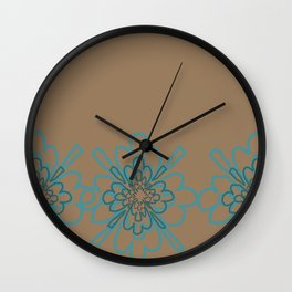 Tan and Teal Patten Wall Clock
