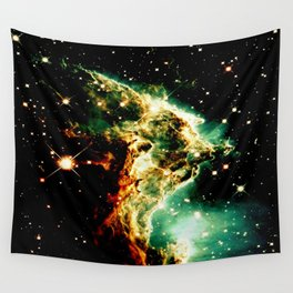 Monkey Head Nebula GalaXy Golden Green Wall Tapestry