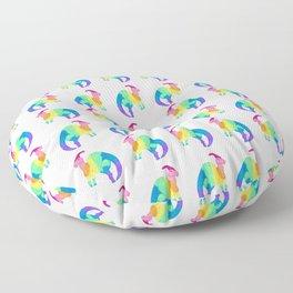 Parasaurolophus Dinosaur in Rainbow Gradient Ink Floor Pillow