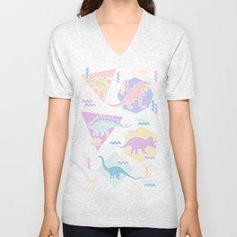 Nineties Dinosaurs Pattern  - Pastel version Unisex V-Neck
