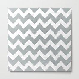 Chevron Grey & White Metal Print