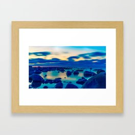 Foggy and stones in the ocean night view Framed Art Print