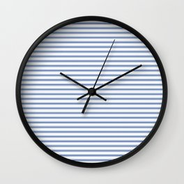 Mattress Ticking Narrow Horizontal Stripe in Dark Blue and White Wall Clock