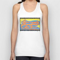 buddhism Tank Tops featuring Buddhism words of Bodhisattva Avaloketeshvara painted and lettered by Sasso by ART to GO Sasso