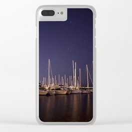 Sailboats Docked Under The Stars Clear iPhone Case