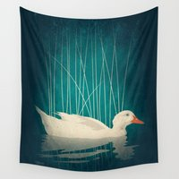 duck Wall Tapestries featuring Duck Reflected by Victor Vercesi
