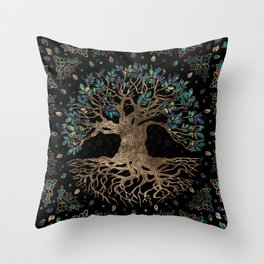 Tree of life -Yggdrasil Golden and Marble ornament Throw Pillow