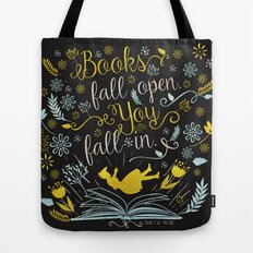 Books Fall Open, You Fall In - Black Tote Bag