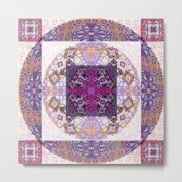 Sacred Geometry Magenta Mandala Portal Metal Print
