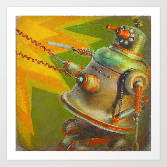 BitchBot Attacks DickBot Art Print