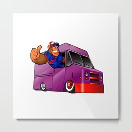 Cartoon illustration of a gorilla driving a van Metal Print