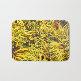 Watercolor Algae, Bladder Wrack 02, Nova Scotia, Canada, Brown and Yellow Convolutions Bath Mat