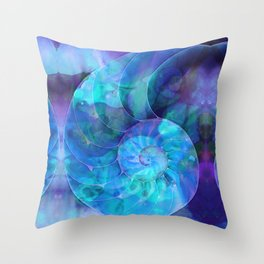 Blue Nautilus Shell - Nature's Perfection by Sharon Cummings Throw Pillow