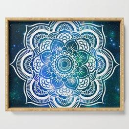 Mandala : Blue Green Galaxy Serving Tray
