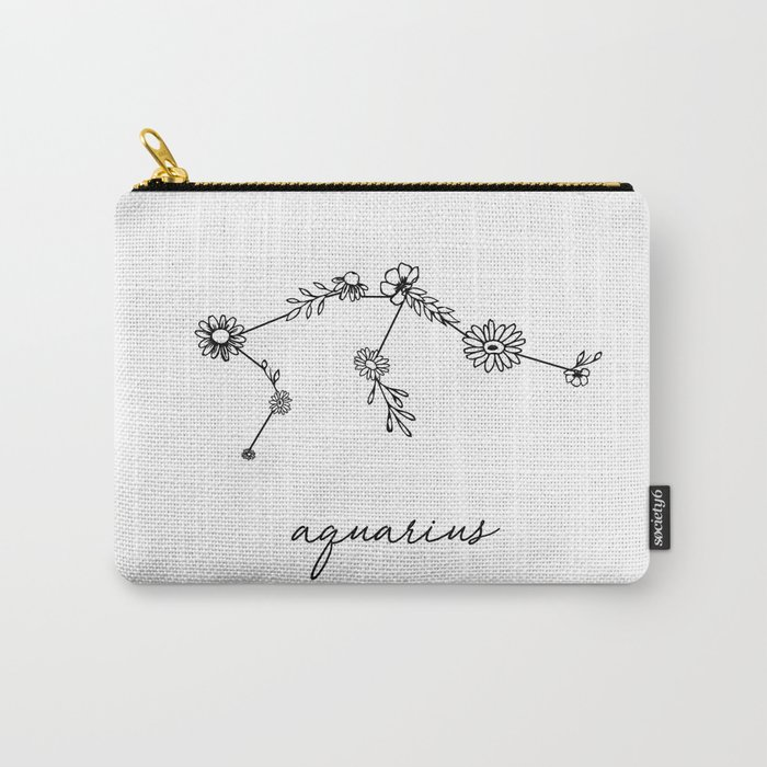 Aquarius Floral Zodiac Constellation Carry-All Pouch