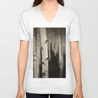 birch V-neck T-shirts featuring Silver Birch by David Turner