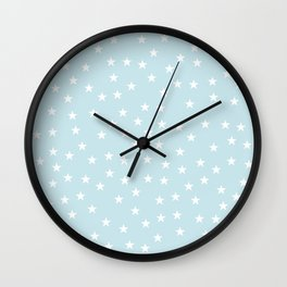 Baby blue background with white stars seamless pattern Wall Clock