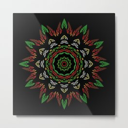 Colorful leaves mandala Metal Print