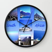 south africa Wall Clocks featuring South Africa Landscape by Art-Motiva