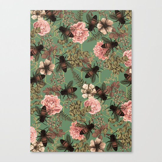 Bees Pattern Canvas Print