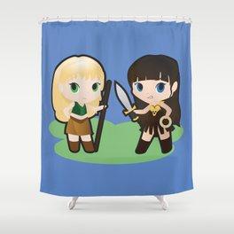 Geek Babies: Xena & Gabrielle Shower Curtain