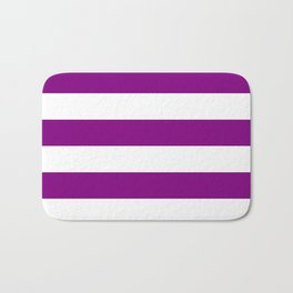Horizontal Stripes - White and Purple Violet Bath Mat