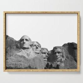 Mount Rushmore National Memorial South Dakota Presidents Faces Graphic Design Illustration Serving Tray