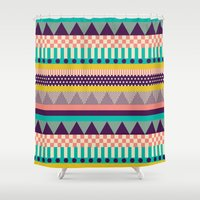 decorative Shower Curtains featuring Decorative Stripes by Louise Machado