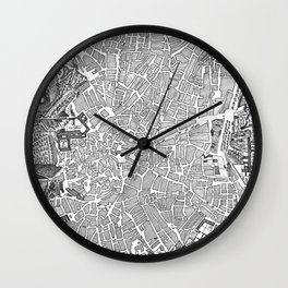 Vintage Map of Madrid Spain (1702) BW Wall Clock