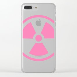 Pink Radioactive Symbol Clear iPhone Case
