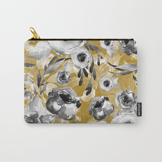 Black and white flowers with gold Carry-All Pouch