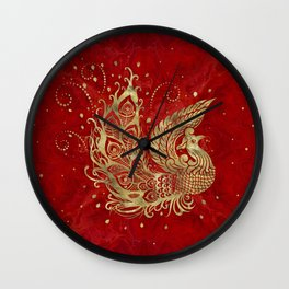 Golden Phoenix Bird on red Wall Clock