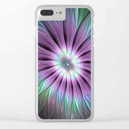 Colorful Flower, Abstract Fractal Art Clear iPhone Case