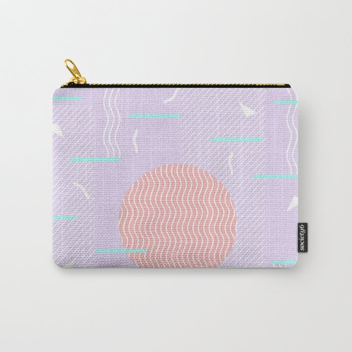 Memphis Summer Lavender Waves Carry-All Pouch