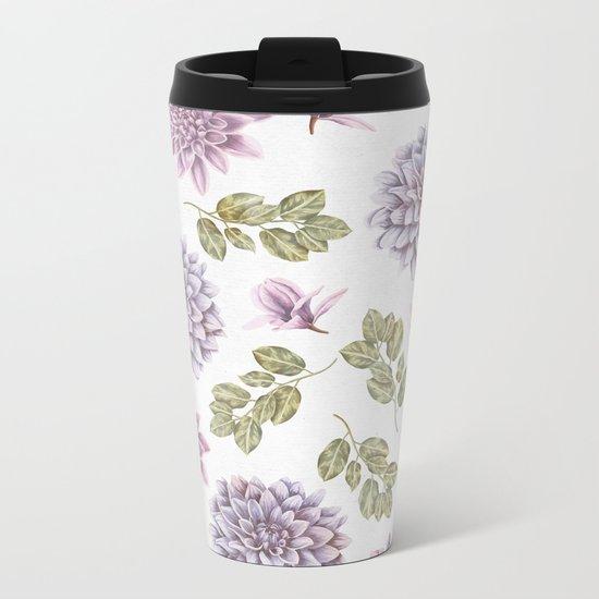 Lavender Rose Garden Floral Pattern Metal Travel Mug