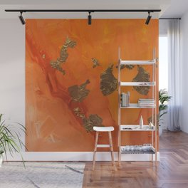 Abstract Painting - Orange and Gold Leaf Wall Mural