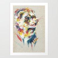 ferret Art Prints featuring Ferret V by Anaïs Chesnoy