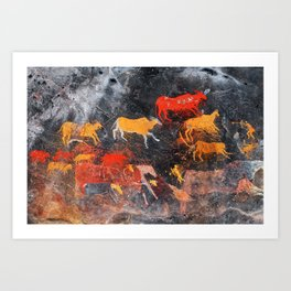 Cave Art Lascaux Deer Hunt Art Print