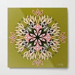 Gazing Mandala – Sage & Pink Metal Print