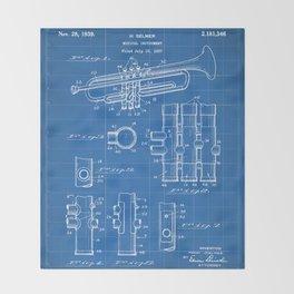 Selmer Trumpet Patent - Trumpet Art - Blueprint Throw Blanket
