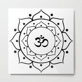 Om Black & White Mandala Metal Print