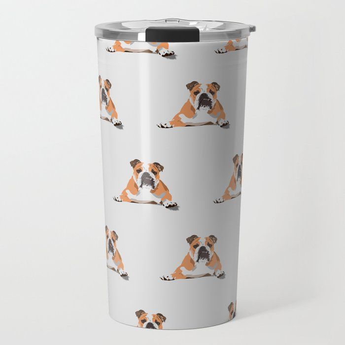 Bulldog Pattern - Grey Travel Mug